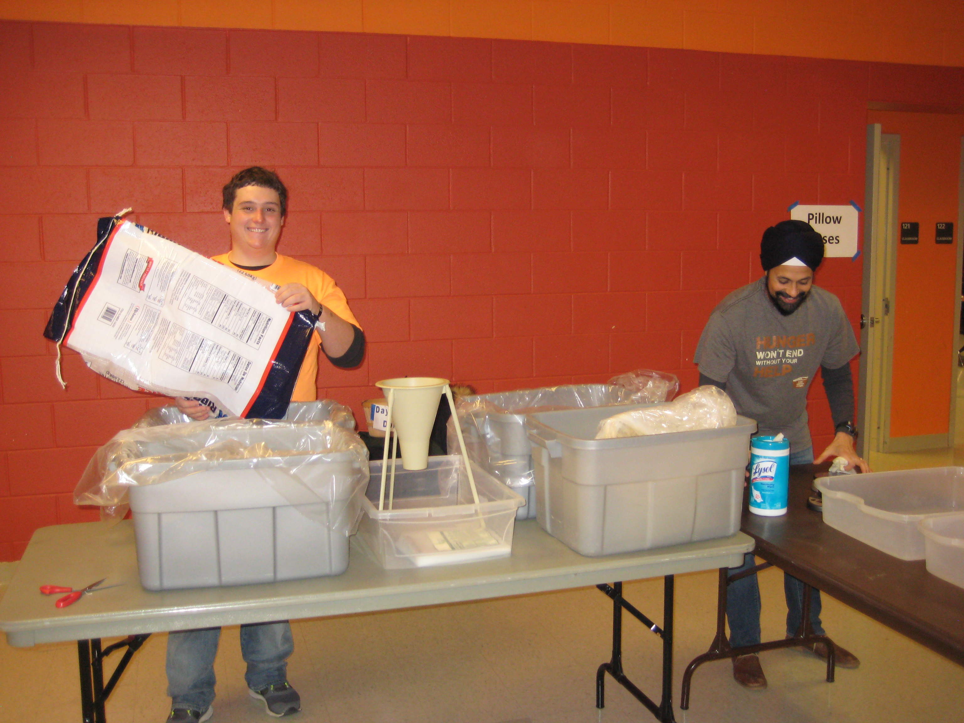 Post-College Small Group meal packaging at Day of Service