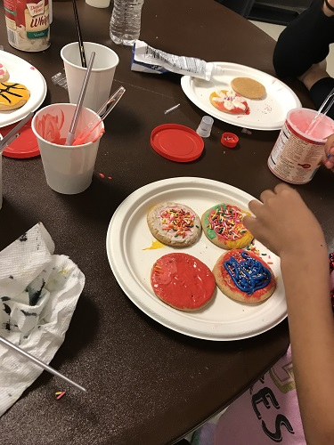 cold weather shelter cookie decorating